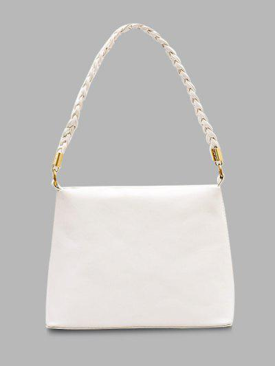 Weaving Belt PU Leather Tote Bag - Milk White