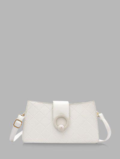 Grid Stitching PU Leather Shoulder Bag - Milk White