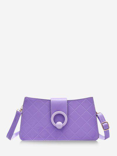 Grid Stitching PU Leather Shoulder Bag - Dark Violet