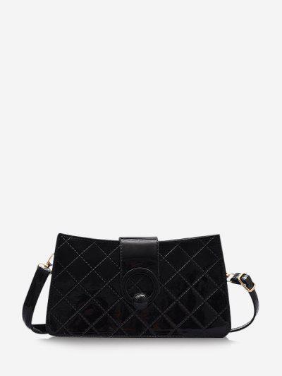 Grid Stitching PU Leather Shoulder Bag - Black