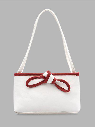 Bowknot Design PU Leather Tote Bag - Milk White