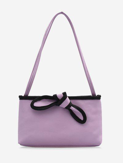 Bowknot Design PU Leather Tote Bag - Light Purple