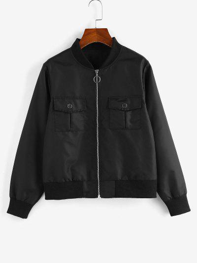 ZAFUL O Ring Zip Stand Collar Pocket Jacket - Black M