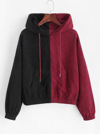 ZAFUL Corduroy Two Tone Hoodie - Black S