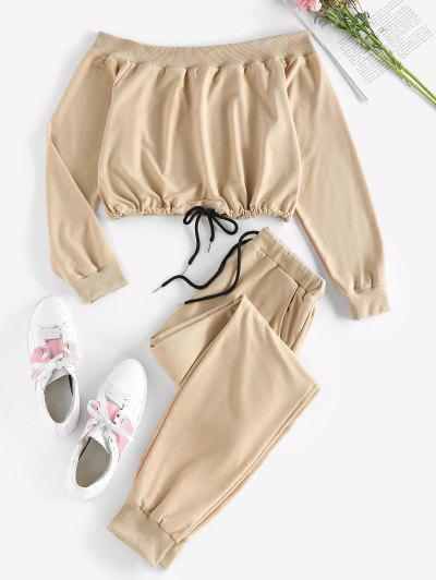 ZAFUL Off Shoulder Sweatshirt And Sweatpants Two Piece Set - Brown Sugar L