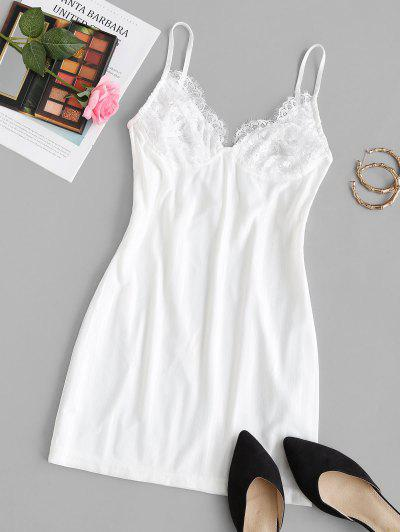Lace Insert Shadow Stripes Cami Sleep Dress - White S