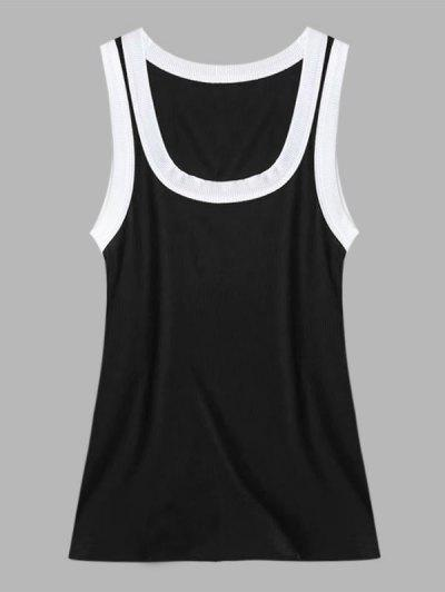Ribbed Contrast Trim Scoop Neck Tank Top - Black M
