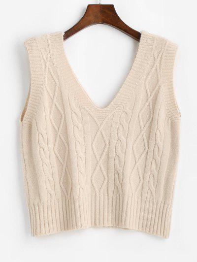 Cable Knit V-back Sweater Vest - Light Coffee