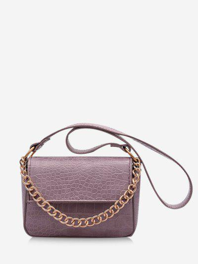 Animal Pattern PU Leather Double Strap Bag - Mauve