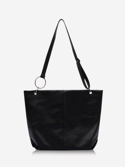 Solid O Ring Shoulder Bag - Black