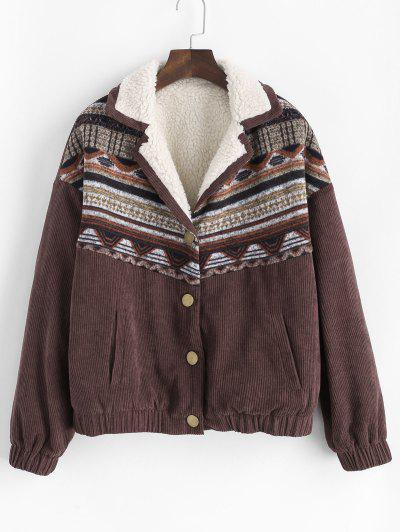 ZAFUL Corduroy Faux Fur Lined Tribal Print Jacket - Mocha S
