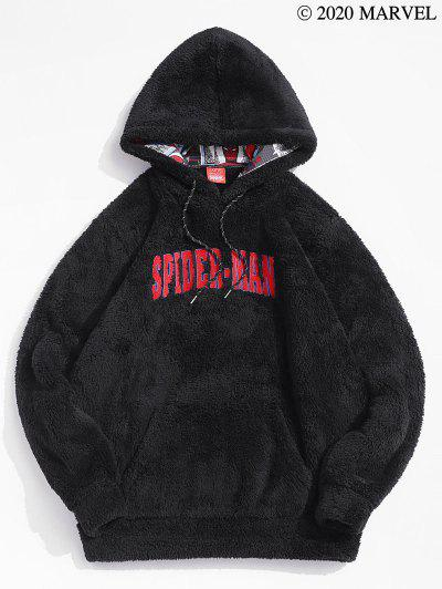 Marvel Spider-Man Embroidered Comics Print Fluffy Hoodie - Black 2xl