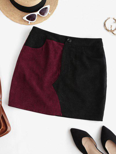 ZAFUL Two Tone Corduroy Skirt - Deep Red S