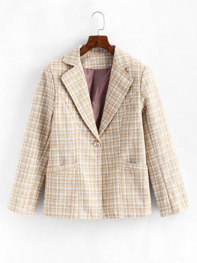 One Buttoned Pockets Plaid Tweed Blazer - Light Coffee L