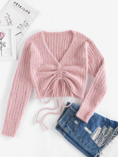 ZAFUL Cinched Plunging Furry Crop Sweater - Pink S