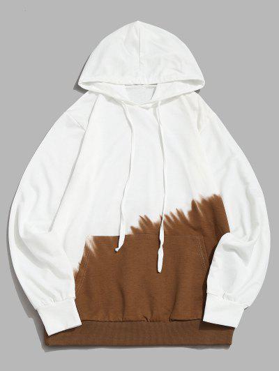 Ombre Print Front Pocket Hoodie - Khaki Xs