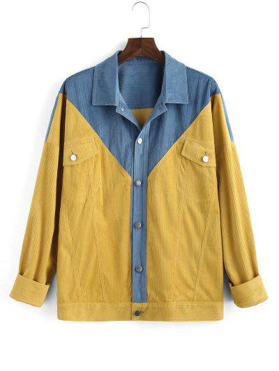 Two Tone Patchwork Flap Pocket Jacket - Yellow 3xl
