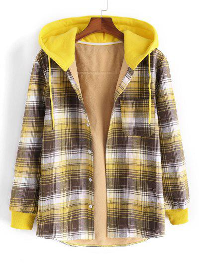 Hooded Button Up Plaid Print Pocket Fleece Jacket - Yellow Xl