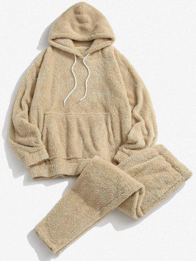Solid Front Pocket Fluffy Hoodie And Pants Two Piece Set - Light Coffee L