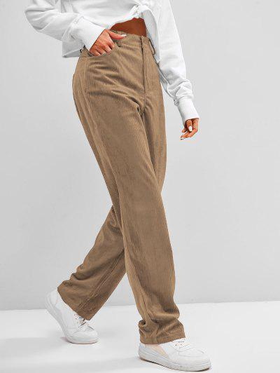 ZAFUL Hose Aus Kord Mit Hoher Taille - Tan S