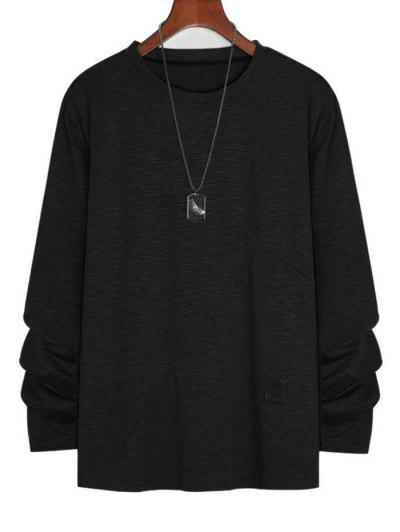 Applique Detail Heathered Long Sleeve T-shirt - Black 2xl