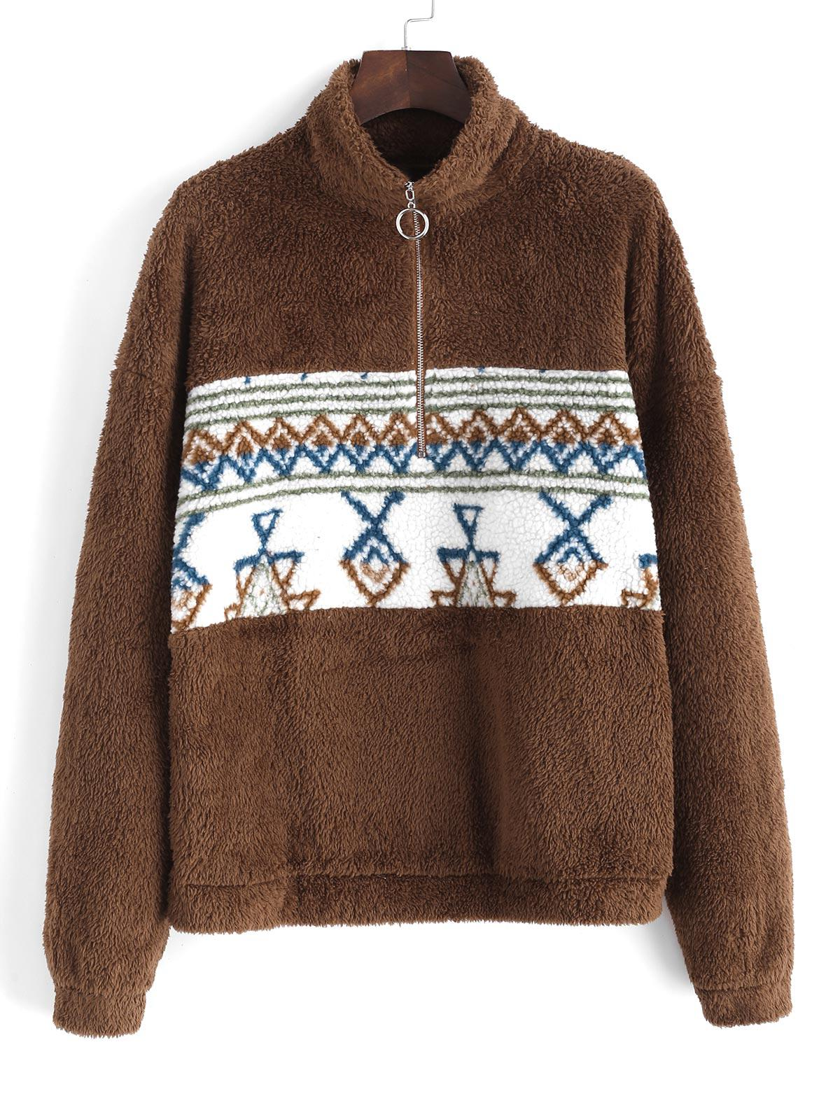 Sweat-shirt Fourré Tribal Imprimé à Demi-Zip - ZAFUL - Modalova