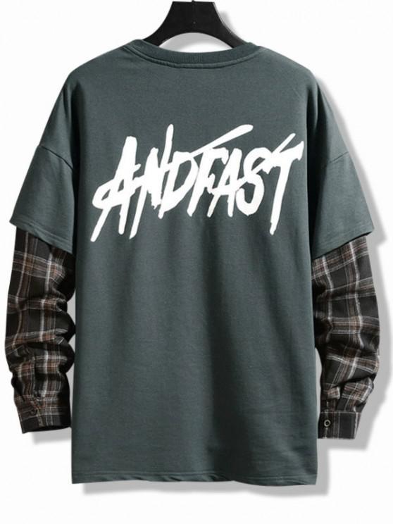 Letter Print Plaid Faux Twinset T-shirt - الرمادي الداكن 2XL