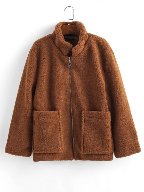 buy ZAFUL Fluffy Faux Shearling Teddy Winter Coat - COFFEE S