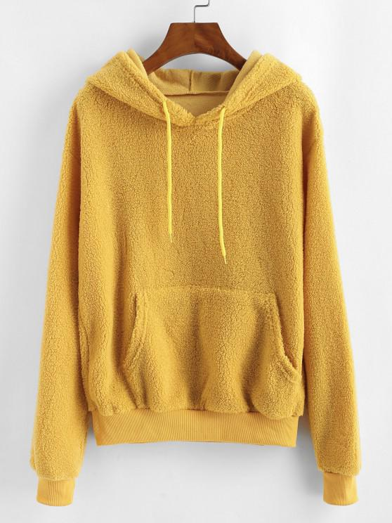 lady Front Pocket Drawstring Fluffy Teddy Hoodie - BEE YELLOW S