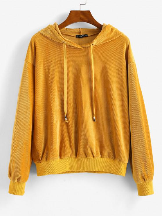 outfit ZAFUL Velvet Tunic Drop Shoulder Hoodie - BEE YELLOW M