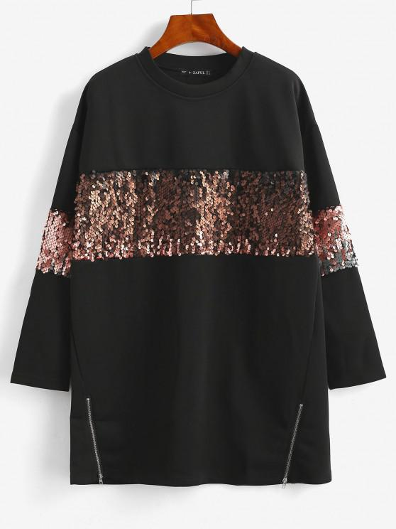 hot ZAFUL  Sequined Tunic Pullover Sweatshirt - BLACK S