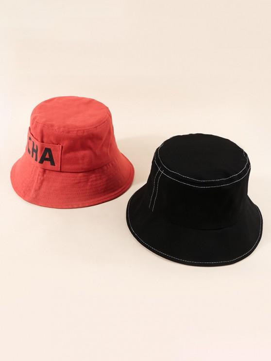 trendy 2Pcs Letter Printed Bucket Hat Set - MULTI-A