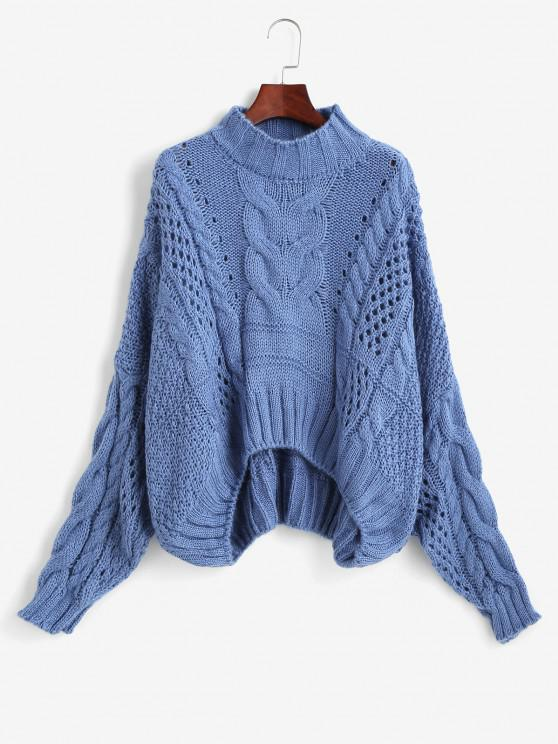 lady Mock Neck Cable Knit Chunky Oversized Sweater - BLUE ONE SIZE