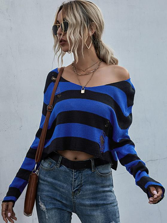 Striped Distressed Drop Shoulder Crop Sweater - ازرق غامق S