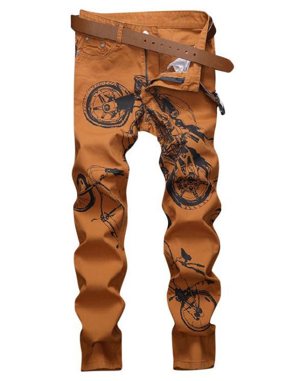 Long Motorcycle Bike Pattern Jeans - برتقالي قاتم 38