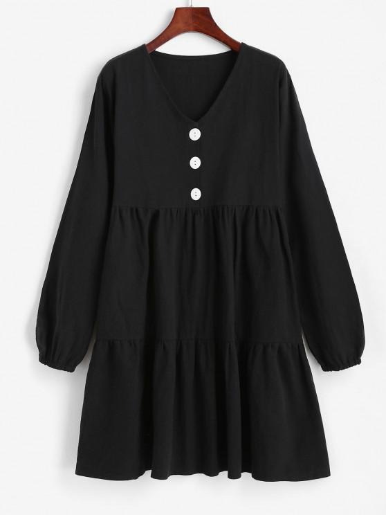 Half Button Tiered Smock Dress - أسود M