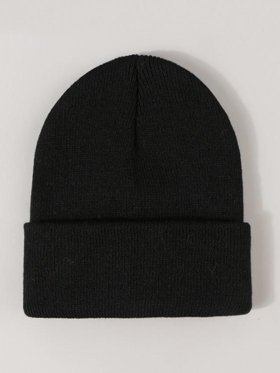 best Winter Solid Turn Up Edge Knitted Hat - BLACK