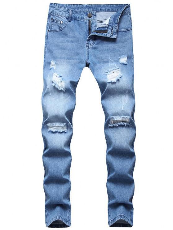 Long Distressed Destroy Wash Scratch Jeans - أزرق فاتح 32