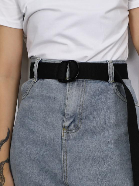 Solid Buckle Woven Belt - أسود