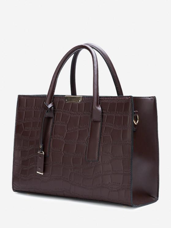women's Solid Rectangle Embossed Handbag - DEEP BROWN