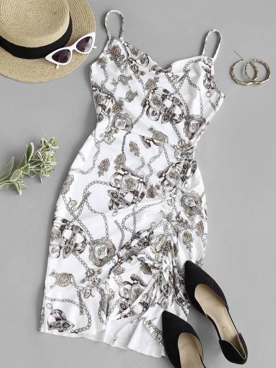 fancy Chains Scarf Print Cinched Flounce Cami Dress - WHITE M