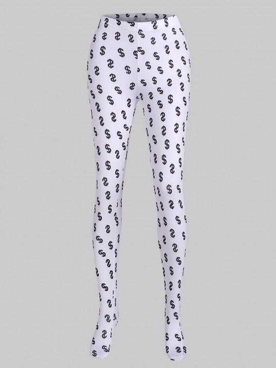 ladies Money Print Full Foot Leggings - WHITE S