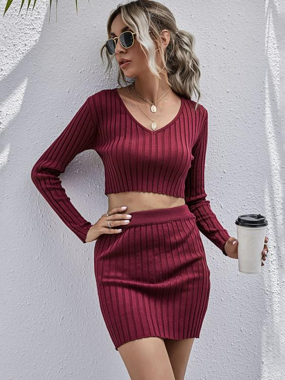 women Ribbed V Neck Sweater Bodycon Skirt Set - DEEP RED L