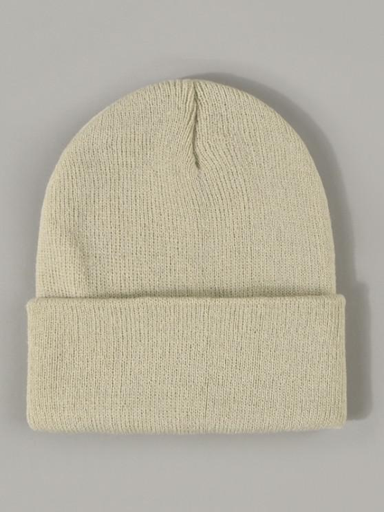 shops Winter Solid Turn Up Edge Knitted Hat - BEIGE