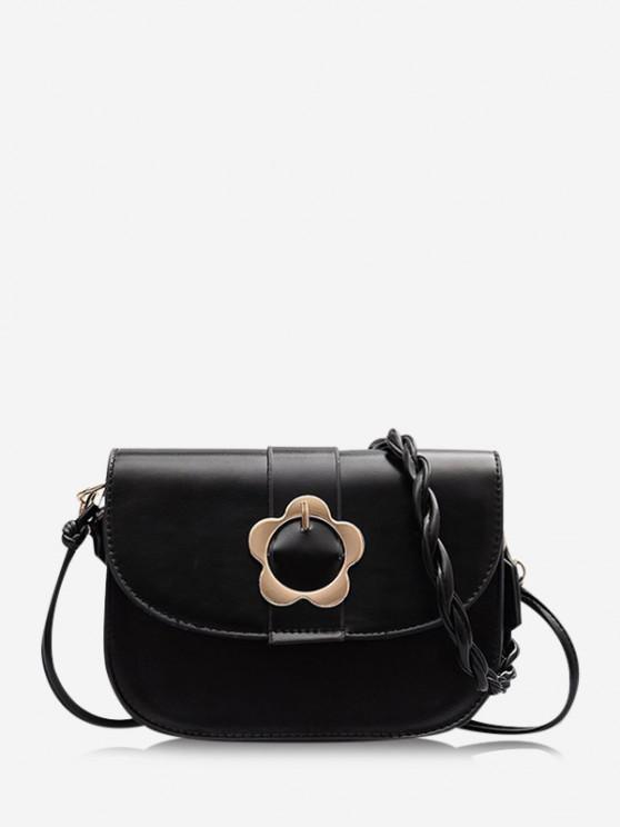 fancy Braid String Flower Shape Lock Crossbody Bag - BLACK