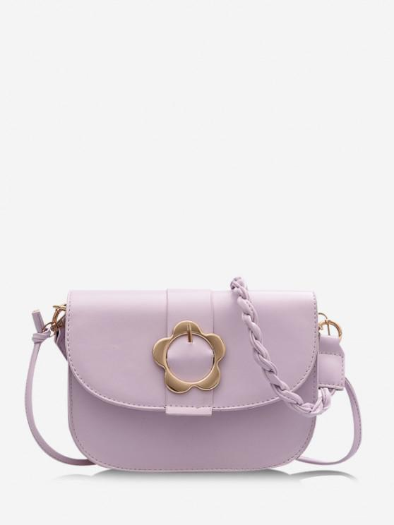 sale Braid String Flower Shape Lock Crossbody Bag - LIGHT PURPLE