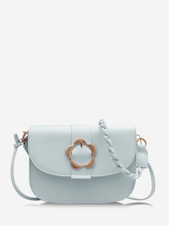 affordable Braid String Flower Shape Lock Crossbody Bag - BLUE GRAY