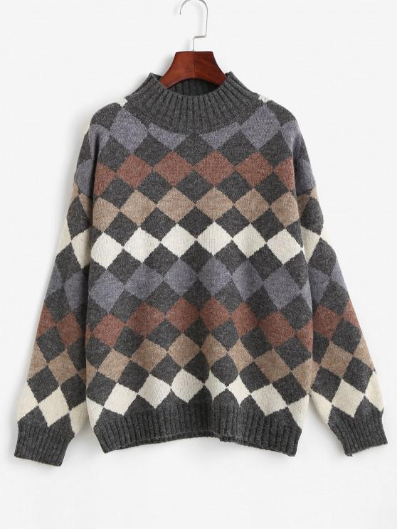 outfit Argyle Pattern Mock Neck Sweater - MULTI ONE SIZE