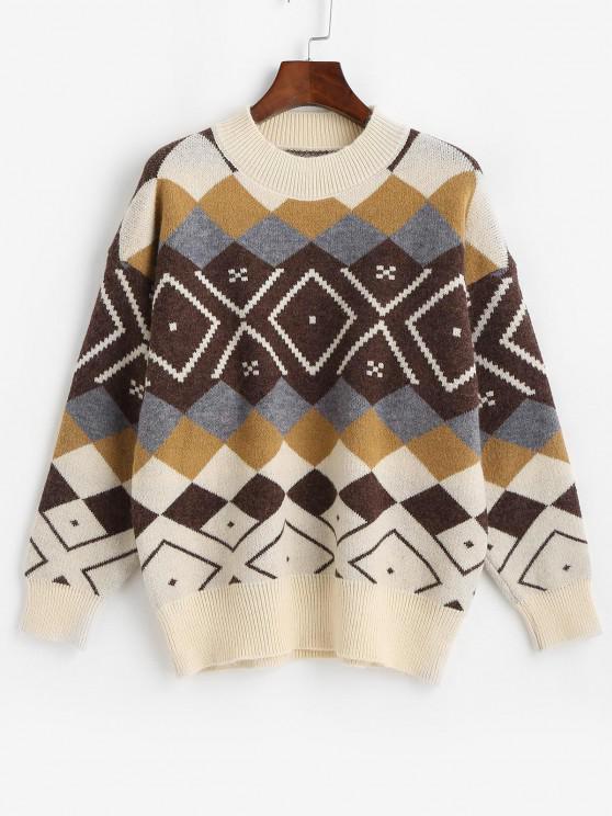 Rundhalsausschnitt Argyle Muster Pullover - Multi Eine Größe