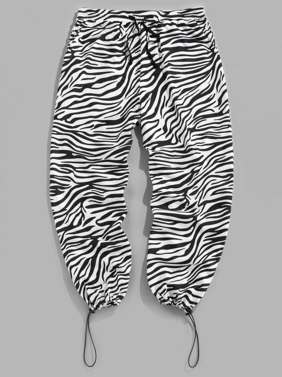 women ZAFUL Zebra Print Toggle Drawstring Casual Pants - BLACK 2XL